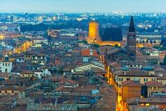 Verona skyline at night, Italy Royalty Free Stock Images