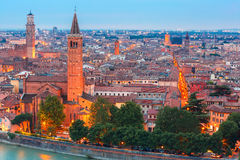 Verona skyline at night, Italy Stock Photos