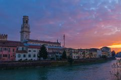 Verona skyline at sunset. Verona skyline and Duomo view at sunset, Italy Stock Images