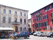 Verona square with local people - Italy Stock Photos