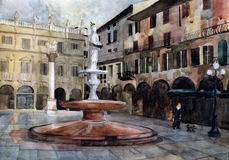 Verona square. Watercolor. Royalty Free Stock Image