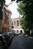 Verona Street. A street looking to the Arena in Verona, Italy Royalty Free Stock Image