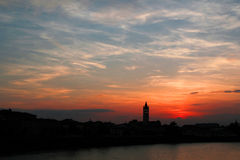 Verona Sunset across the river Adige Royalty Free Stock Image