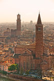Verona at sunset, italy. Verona panoramic view from the high hill, Italy Royalty Free Stock Images