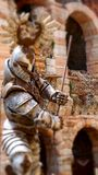 Verona - Tilt-shift photography of warrior. Tilt-shift photography of a fighting warrior oute colosseum of Verona Royalty Free Stock Image