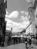 Verona, Torre dei Lamberti. Market Place in famous street of Verona royalty free stock image