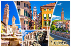 Verona tourist landmarks postcard with label Royalty Free Stock Photos