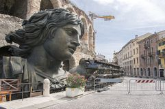Verona town / ITALY - June 10, 2017: Woman sculpture ready for film shooting next Arena building stock photo