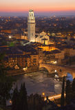 Verona Twilight. View of Verona from the north bank at sunset Stock Images