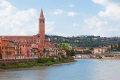 Verona view. Verona old town view. Horizontal summer shot Royalty Free Stock Image