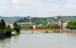 Verona. View from the bridge on  Saint Peter's Castle. Stock Image