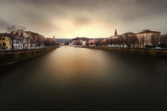 Verona. View of Verona from one of its bridges over the river at sunset royalty free stock photo