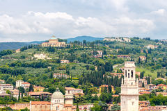 Verona. The villa is on a hill. Verona, Italy - 26 May, 2015: The villa on the hill of San Leonardo in Verona. Typical Italian landscape is very popular among Royalty Free Stock Images