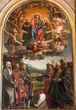 Verona - Virgin Mary with the st. Anthione and st. Francis in San Bernardino churc Stock Photo