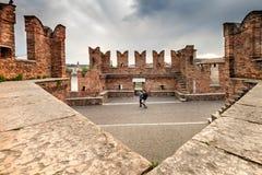 VERONA Włochy, Kwiecień, - 04, 2017: Pejzaż miejski Verona, Veneto Obraz Stock