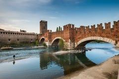 VERONA Włochy, Kwiecień, - 04, 2017: Pejzaż miejski Verona, Veneto Obrazy Stock