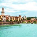 VERONA WŁOCHY, Czerwiec, - 25, 2017: Verona Veneto region panoramiczny Fotografia Royalty Free
