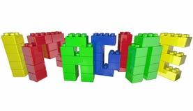 Veronderstel Droom Toy Blocks Word Letters Stock Foto