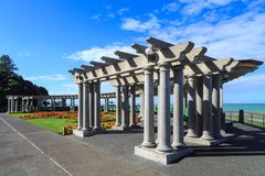 Napier, New Zealand. The `Veronica Sun Bay`. The Veronica Sun Bay is a curved, multi-columned arcade on the Napier Waterfront. It is named for the HMS Veronica Stock Image