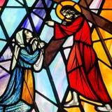 Veronica veegt het gezicht van Jesus af stock fotografie