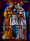 Veronica and the veil with the image of christ. Stained glass window of Veronica holding the veil with the image of Jesus Royalty Free Stock Image