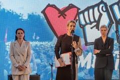 Veronika Tsepkalo gives speech at Svetlana Tikhanovskaya rally in Minsk.
