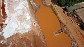 Verontreinigde en verlaten industriële grond met rood giftig water stock footage