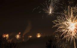 Verontreinigende lucht met vuurwerk Royalty-vrije Stock Afbeelding
