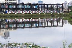 Verontreiniging van Pinheiros-rivier in Sao Paulo Stock Foto's