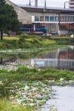 Verontreiniging van Pinheiros-rivier in Sao Paulo Royalty-vrije Stock Foto