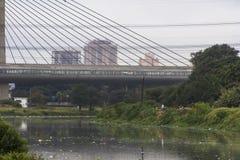 Verontreiniging van Pinheiros-rivier in Sao Paulo Royalty-vrije Stock Foto's