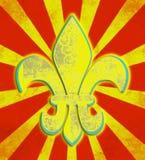 Verontruste Gele Fleur de Lis Circus Royalty-vrije Stock Foto's