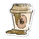 verontruste sticker van een slordig beeldverhaal van de koffiekop royalty-vrije illustratie