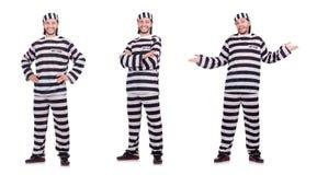 Veroordeel misdadiger in gestreepte die eenvormig op wit wordt geïsoleerd royalty-vrije stock afbeelding