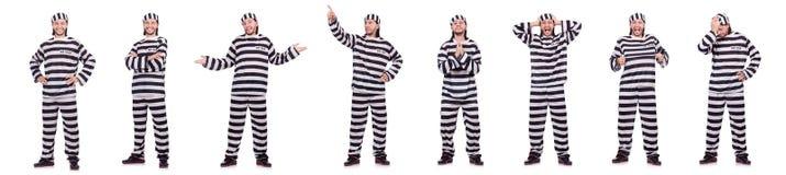 Veroordeel misdadiger in gestreepte die eenvormig op wit wordt geïsoleerd stock fotografie