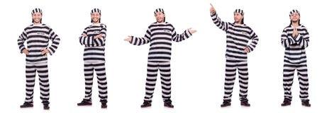 Veroordeel misdadiger in gestreepte die eenvormig op wit wordt geïsoleerd stock afbeeldingen
