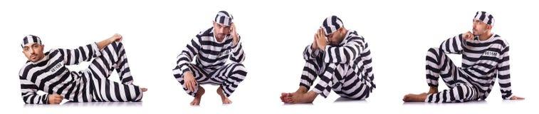 Veroordeel misdadiger in gestreepte eenvormig stock afbeeldingen