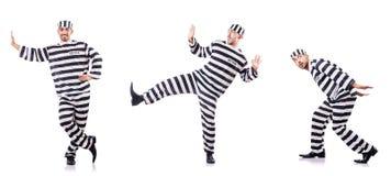 Veroordeel misdadiger in gestreepte eenvormig stock foto