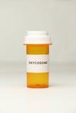 Verordnungs-Flasche mit Oxycodone-Aufkleber Stockbilder
