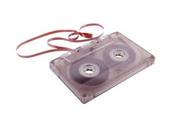 Verouderde muziekopslag. Audio cassette en band Stock Foto's