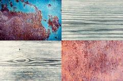 Verouderde plank twee en roestig metaalblad Royalty-vrije Stock Foto's