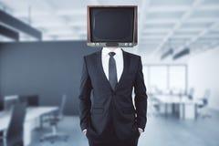 Verouderde TV geleide zakenman Stock Foto's
