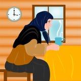 Verouderende grootmoeder en mok hete thee Stock Afbeelding