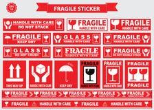 Verpacken oder empfindliche Aufkleber Lizenzfreies Stockfoto