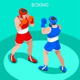 Verpacken-Spieler-Sommer-Spiel-Ikonen-Satz isometrischer Boxer 3D Sport- Meisterschaft internationaler Boxe-Wettbewerb Lizenzfreie Stockfotos