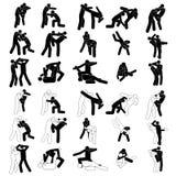 Verpacken-Tritt-Durchschlags-Zupacken-Wurfs-Leute-Ikonen-Zeichen-Symbol-Piktogramm Kampf-Kämpfer Muay thailändisches Kampfkunstve Lizenzfreies Stockfoto