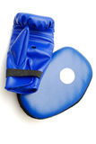 Verpackenhandschuh und sparring Auflage Stockfotografie