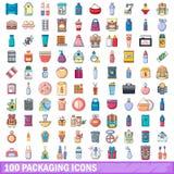 100 Verpackenikonen eingestellt, Karikaturart Lizenzfreie Stockbilder