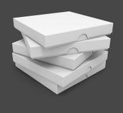 Verpackenkästen der weißen Pizza Stockfoto