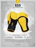 Verpackenplakat, Boxhandschuhillustration lizenzfreie stockfotos